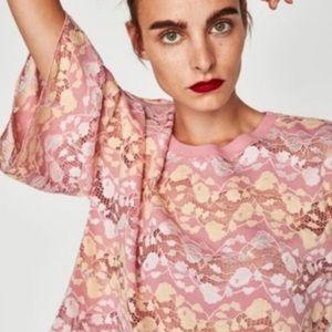Zara   Lace Flutter Sleeve Blouse Pink Yellow Sz L